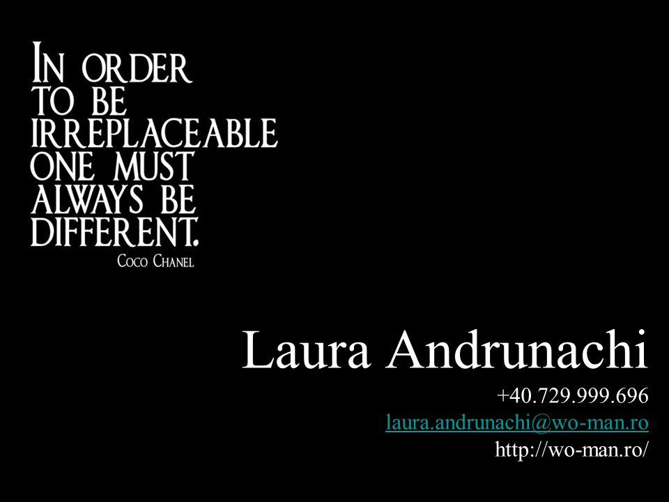 Laura Andrunachi +40.729.999.696 laura.andrunachi@wo-man.ro http://wo-man.ro/ laura.andrunachi@wo-man.ro