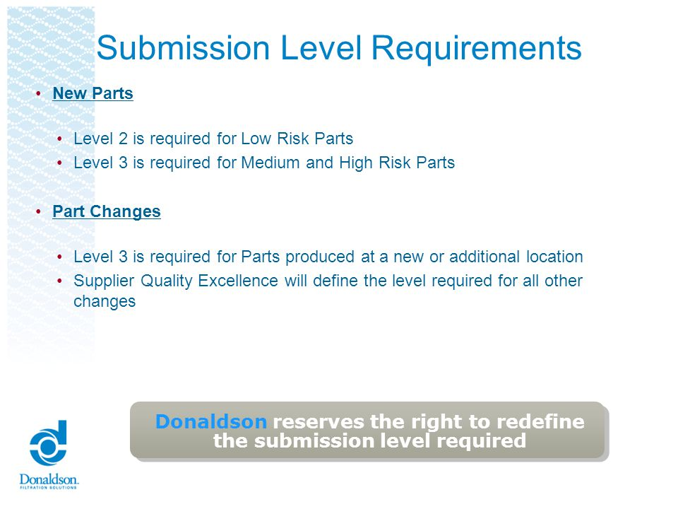 Submission Level Requirements New Parts Level 2 is required for Low Risk Parts Level 3 is required for Medium and High Risk Parts Part Changes Level 3