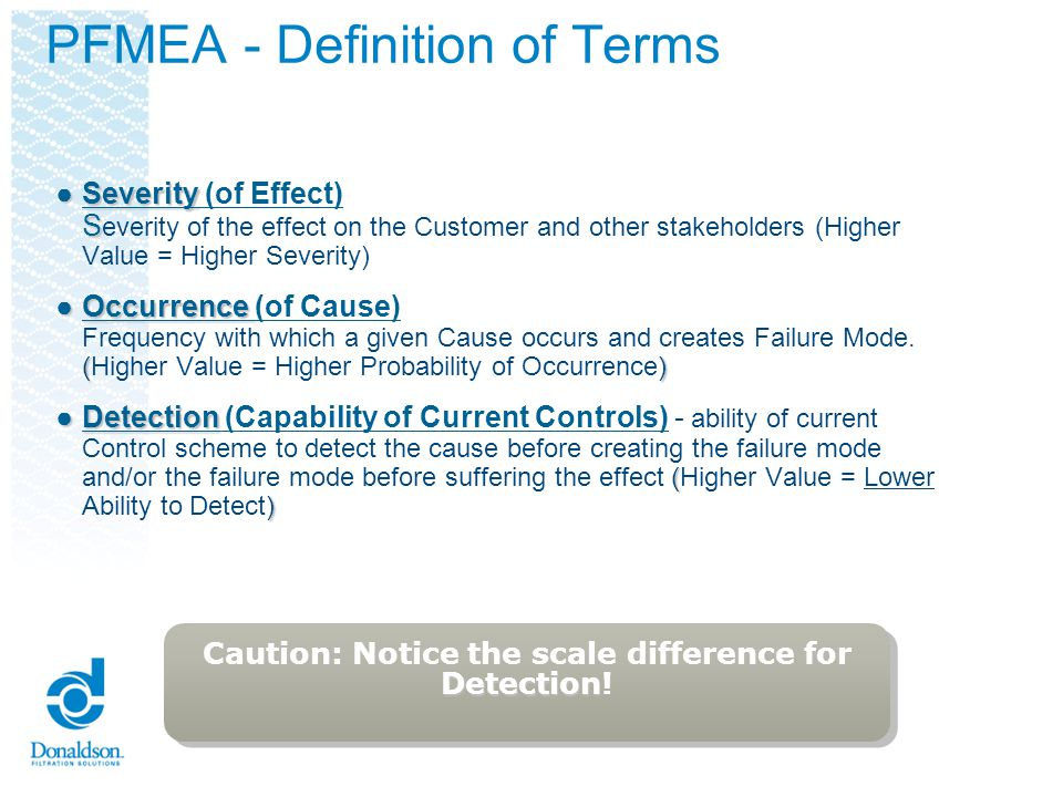 PFMEA - Definition of Terms Severity SSeverity (of Effect) S everity of the effect on the Customer and other stakeholders (Higher Value = Higher Sever