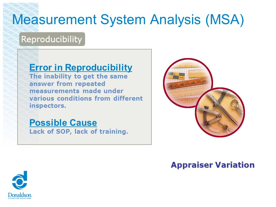 Measurement System Analysis (MSA) Error in Reproducibility The inability to get the same answer from repeated measurements made under various conditio