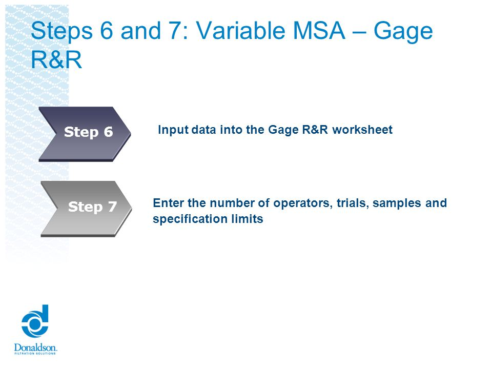 Steps 6 and 7: Variable MSA – Gage R&R Input data into the Gage R&R worksheet Enter the number of operators, trials, samples and specification limits