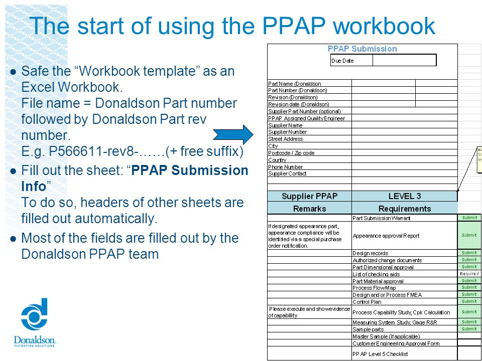 The start of using the PPAP workbook Safe the Workbook template as an Excel Workbook. File name = Donaldson Part number followed by Donaldson Part rev