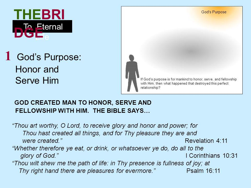 To Eternal Life THEBRI DGE 2 Mankinds Problem: Sin MAN CHOSE TO SIN AGAINST GOD RATHER THAN SERVE HIM.