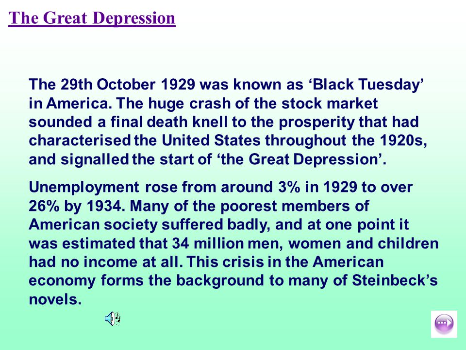 The Great Depression The 29th October 1929 was known as Black Tuesday in America.