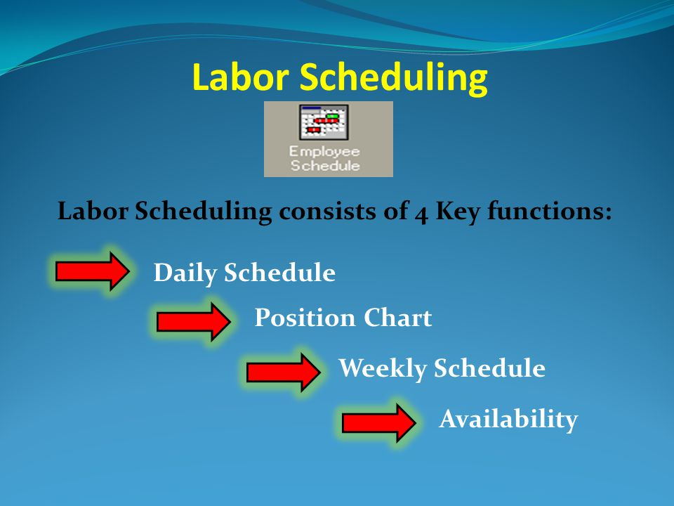 Labor Scheduling Labor Scheduling consists of 4 Key functions: Daily Schedule Availability Weekly Schedule Position Chart