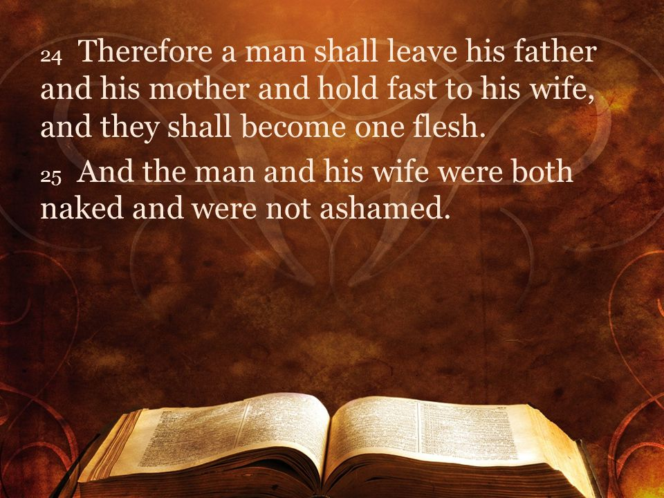 24 Therefore a man shall leave his father and his mother and hold fast to his wife, and they shall become one flesh. 25 And the man and his wife were