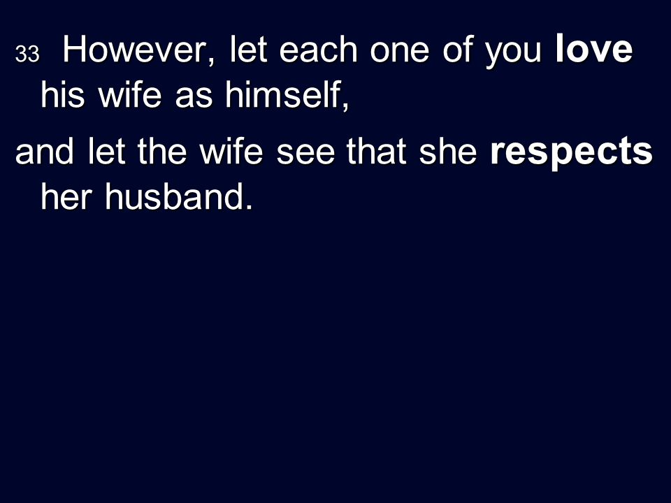 33 However, let each one of you love his wife as himself, and let the wife see that she respects her husband.