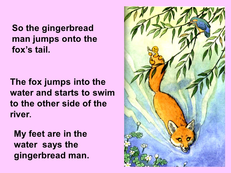 The fox too comes to the river. I can help you cross the river, says the fox. You can jump on my tail and I will take you to the other side.