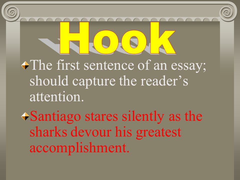 The first sentence of an essay; should capture the readers attention.