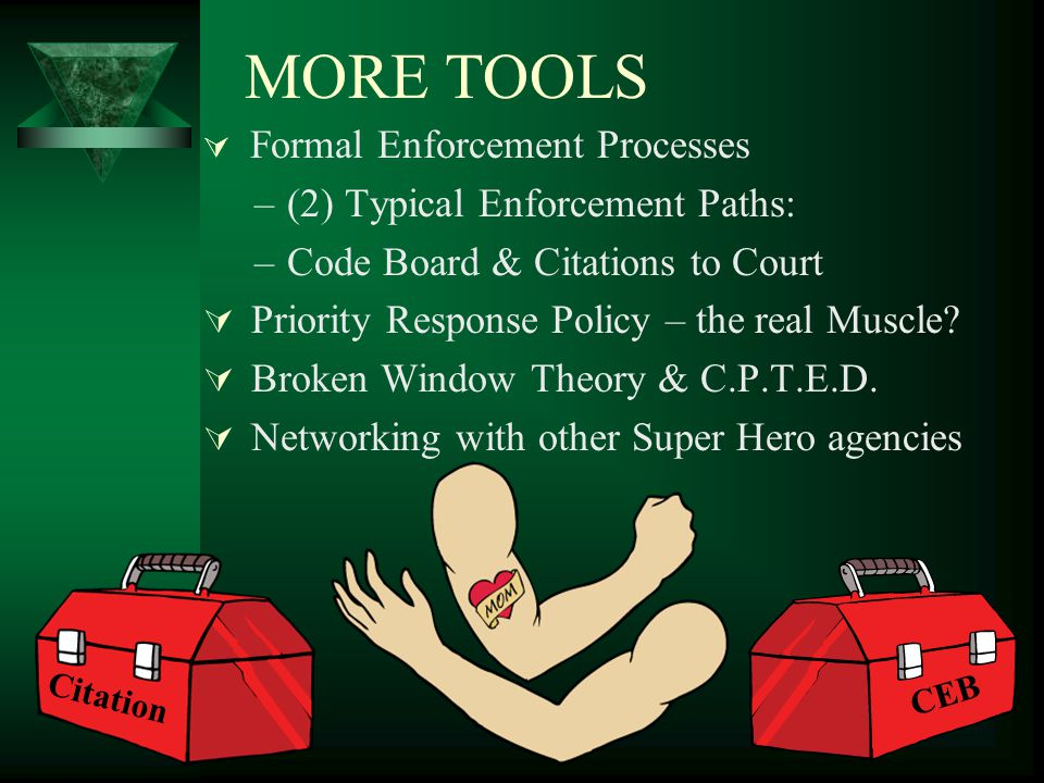 REAL TOOLS Informal Enforcement Processes: –Education – EDUCATION - Education –Neighborhood Watches & Community Assoc.