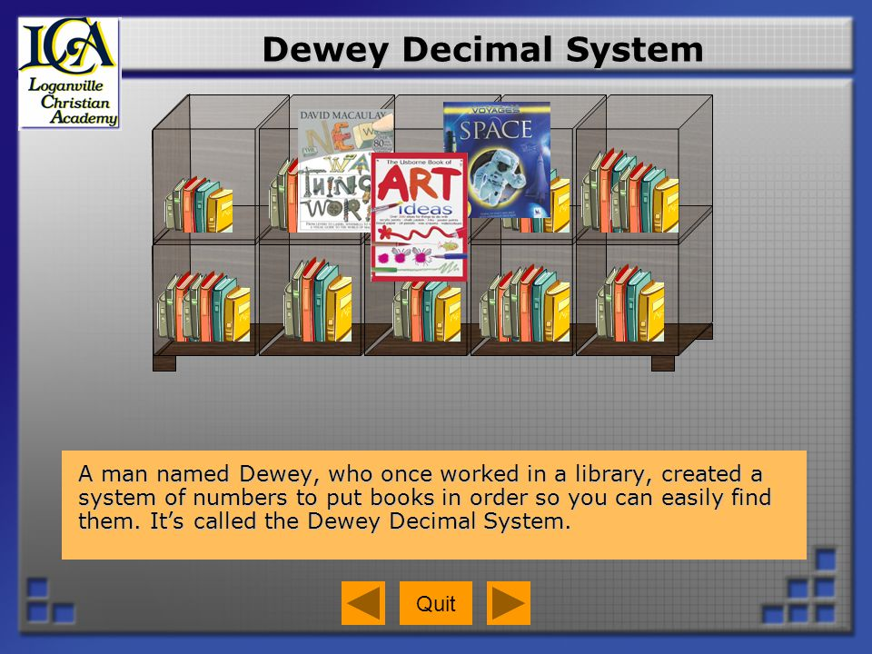 Call Numbers Dewey grouped books into ten areas by subject.