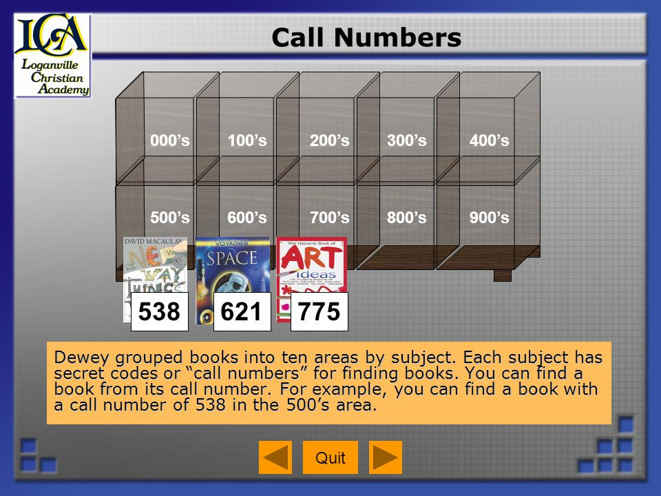 Call Numbers Click where you would go to find a book with a call number of 135.