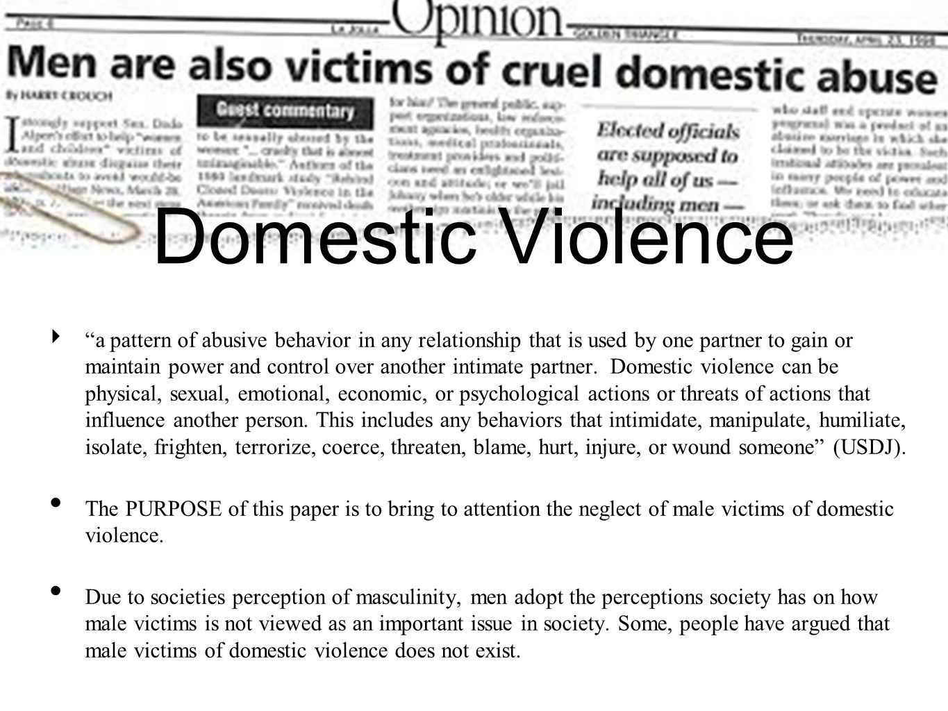Domestic Violence a pattern of abusive behavior in any relationship that is used by one partner to gain or maintain power and control over another int