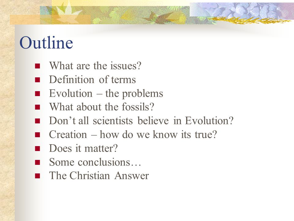 Outline What are the issues. Definition of terms Evolution – the problems What about the fossils.