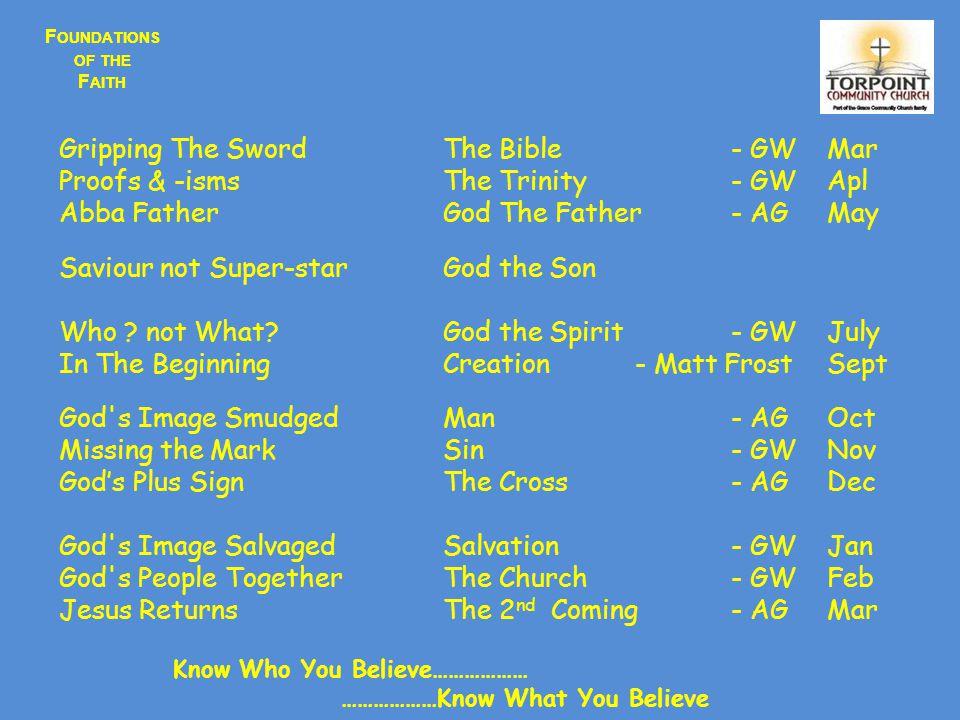 F OUNDATIONS OF THE F AITH Jesus was Pre-Existant - In Heaven before Bethlehem John 1:1John 6:62John 8:56John 17:5 1 Cor 8:6Col 1:16;Col 1:17Heb 1:2