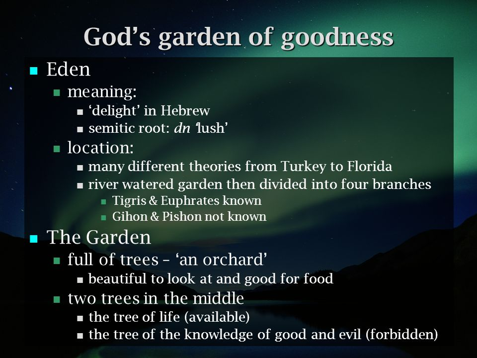Gods image in the garden Mankind is made in Gods image Gen 1:27,28 God gives instructions for living: Be fruitful and increase in number Fill the earth and subdue it.