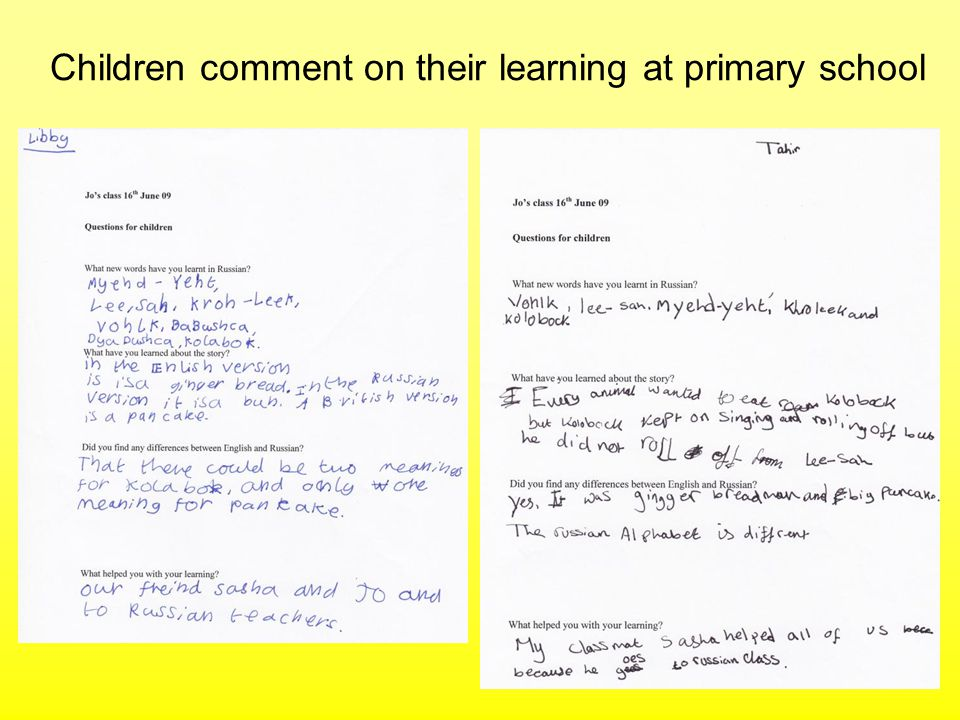 Children comment on their learning at primary school