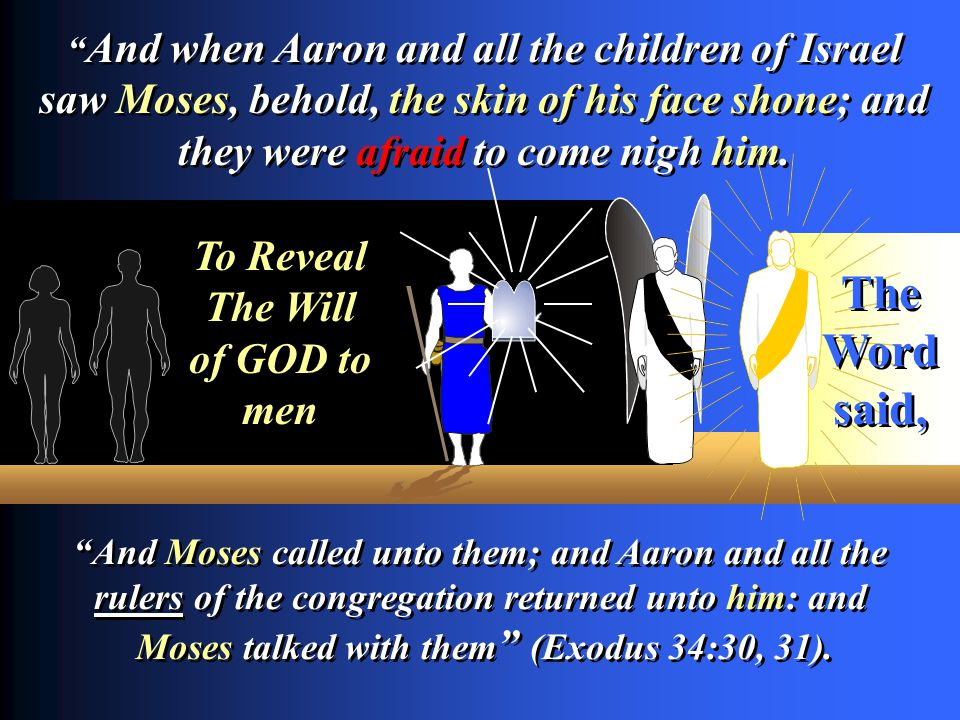 And Moses called unto them; and Aaron and all the rulers of the congregation returned unto him: and Moses talked with them (Exodus 34:30, 31). And Mos
