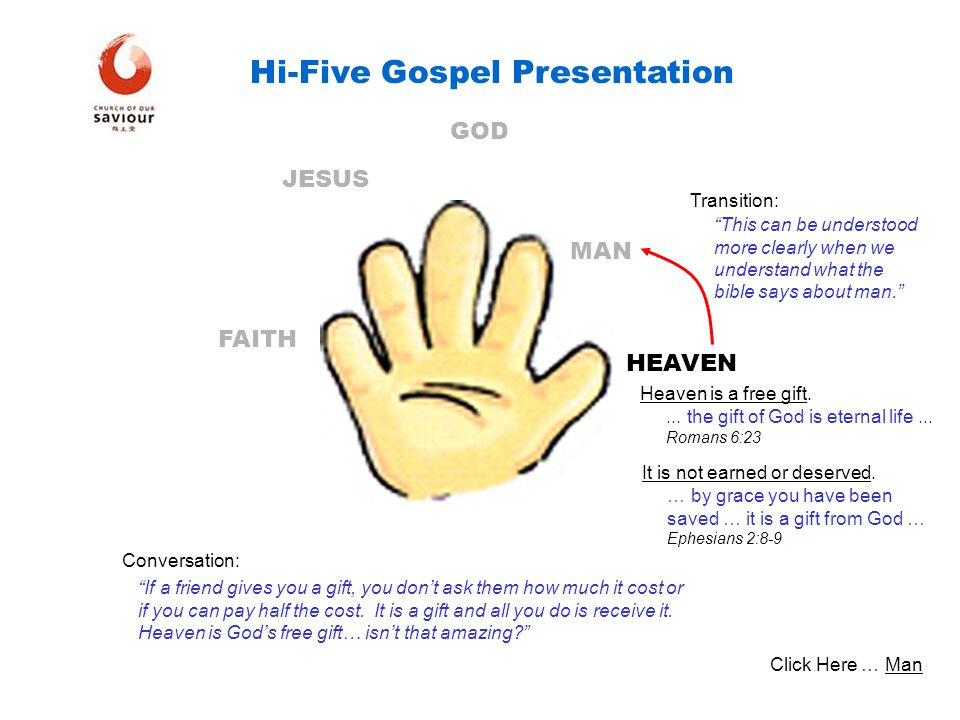 HEAVEN MAN GOD JESUS FAITH Hi-Five Gospel Presentation Heaven is a free gift.... the gift of God is eternal life... Romans 6:23 It is not earned or de