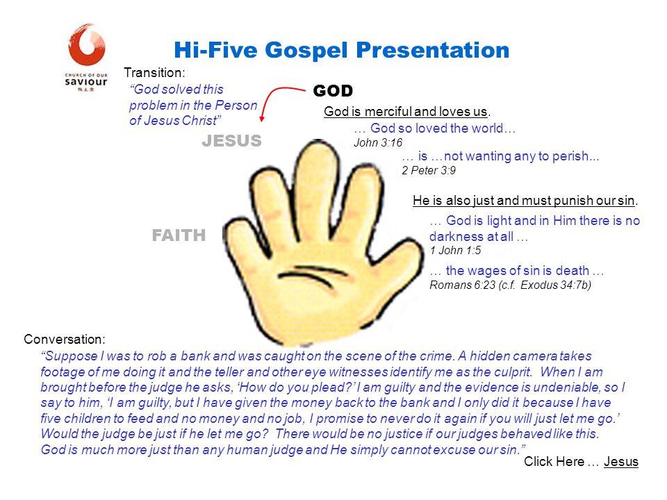 HEAVEN MAN GOD JESUS FAITH Hi-Five Gospel Presentation Jesus is all man and all God.