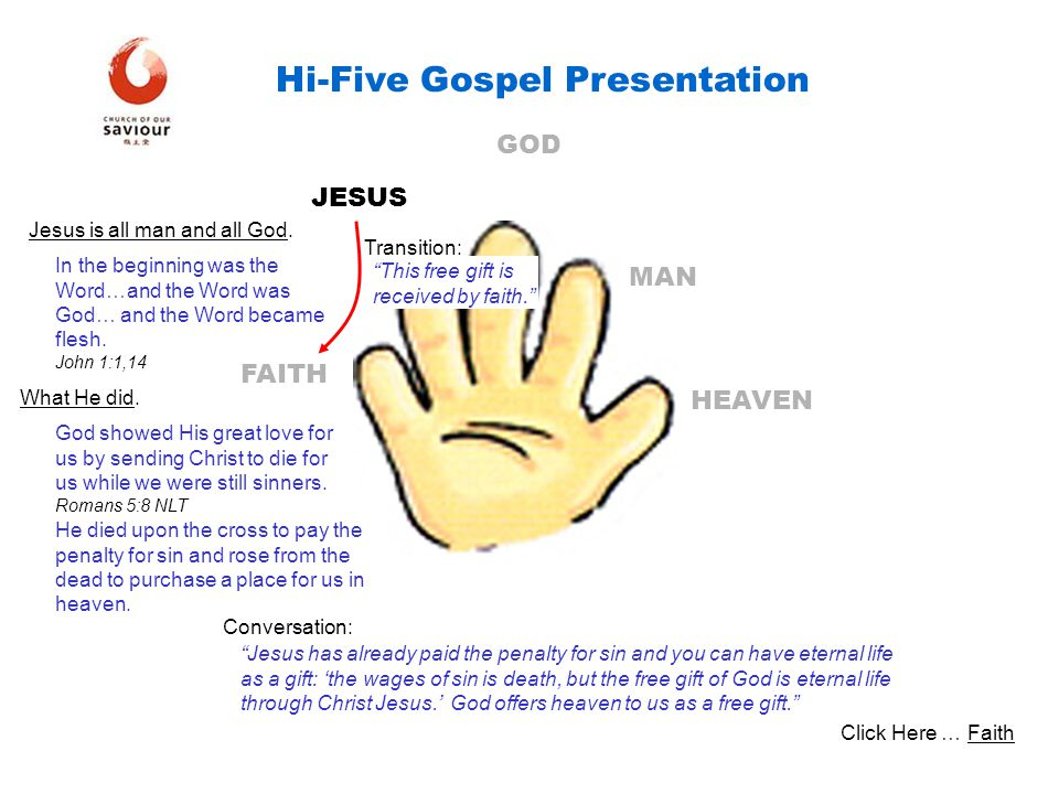 HEAVEN MAN GOD JESUS FAITH Hi-Five Gospel Presentation Jesus is all man and all God. In the beginning was the Word…and the Word was God… and the Word