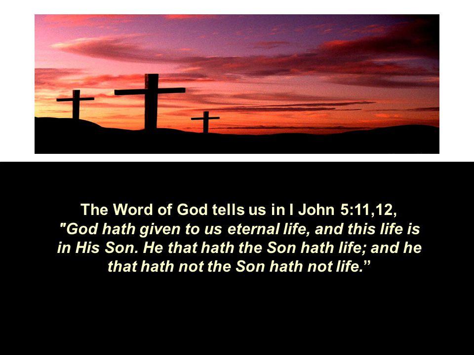 The Word of God tells us in I John 5:11,12,