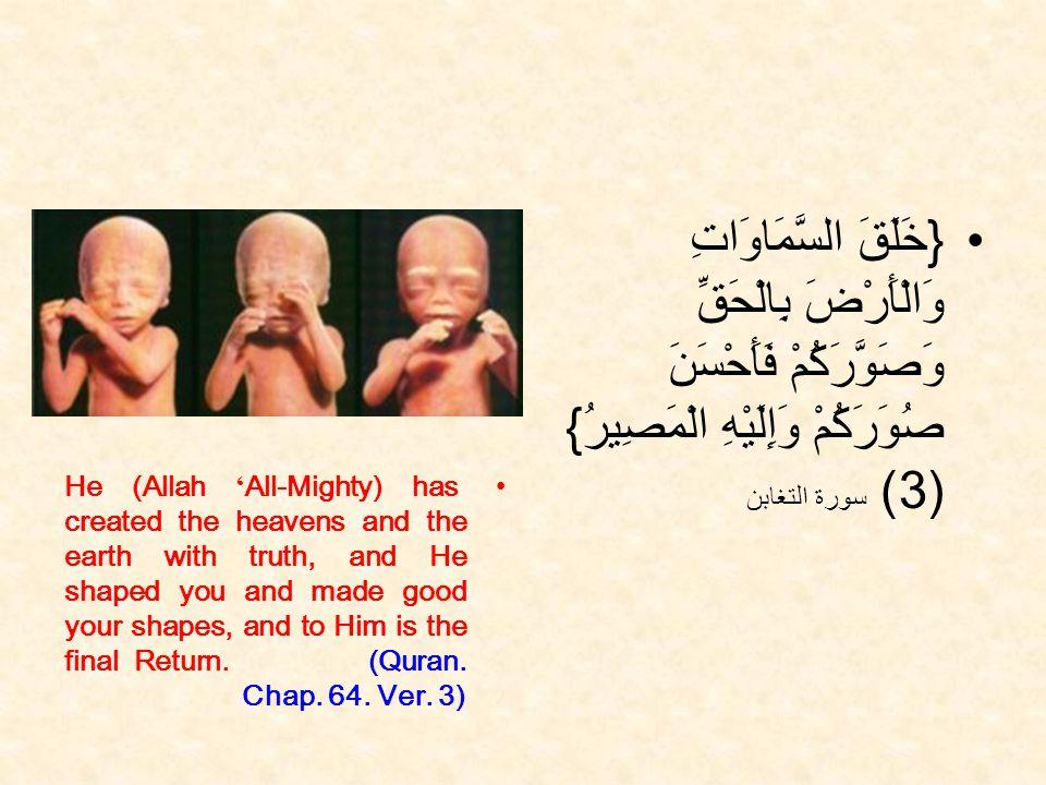 { خَلَقَ السَّمَاوَاتِ وَالْأَرْضَ بِالْحَقِّ وَصَوَّرَكُمْ فَأَحْسَنَ صُوَرَكُمْ وَإِلَيْهِ الْمَصِيرُ } (3) سورة التغابن He (Allah All-Mighty) has created the heavens and the earth with truth, and He shaped you and made good your shapes, and to Him is the final Return.