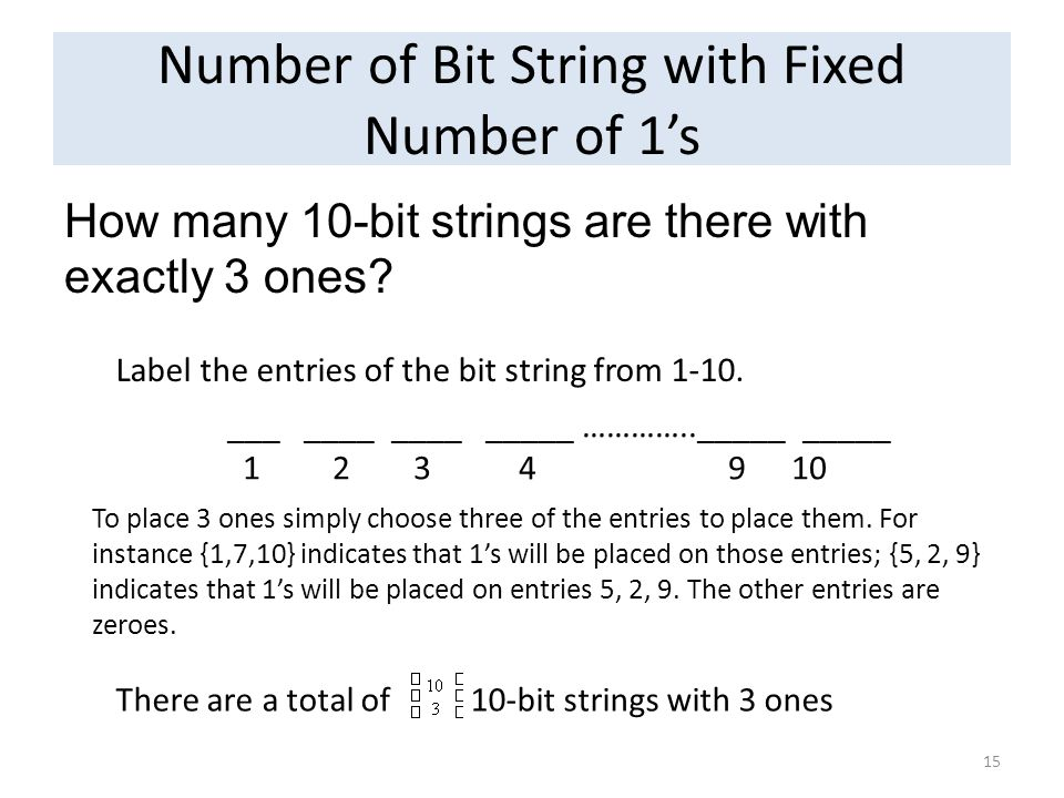 Number of Bit String with Fixed Number of 1s How many 10-bit strings are there with exactly 3 ones? 15 ___ ____ ____ _____ ………….._____ _____ 1 2 3 4 9