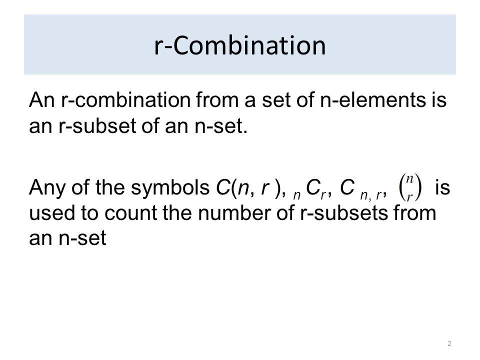 r-Combinations Consider the set A={a, b, c, d}.