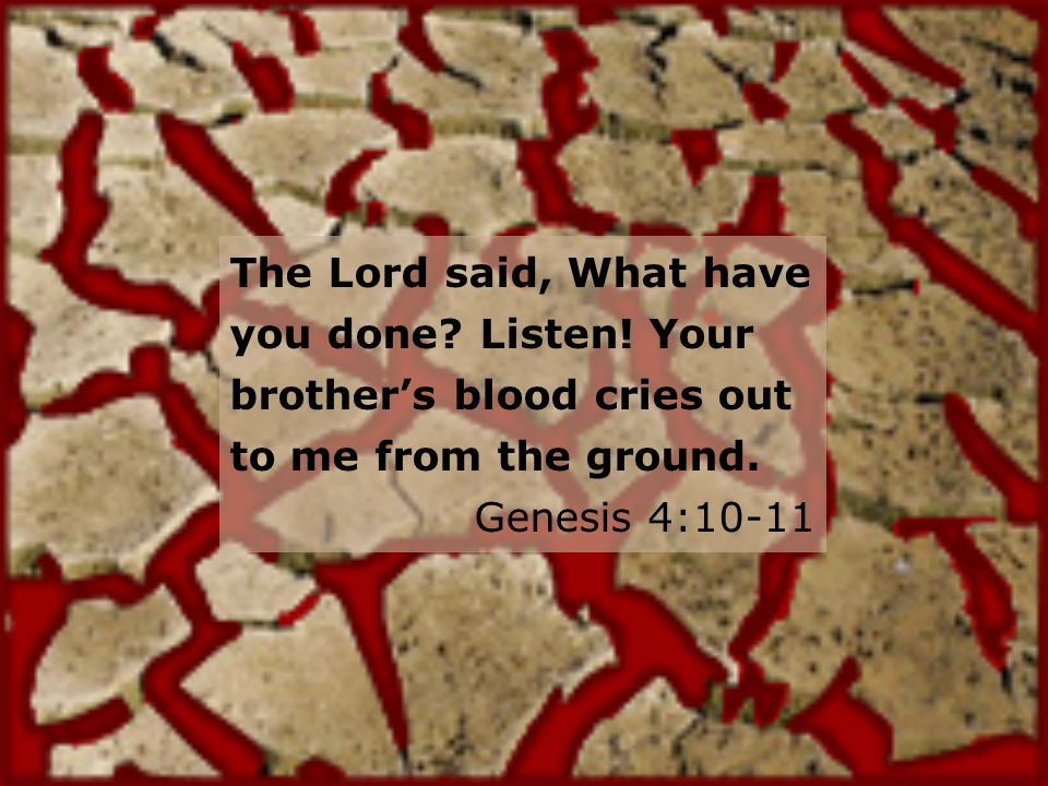 The Lord said, What have you done. Listen. Your brothers blood cries out to me from the ground.