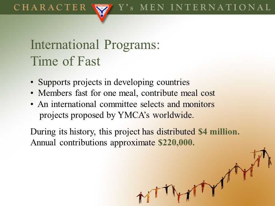 International Programs: Time of Fast Supports projects in developing countries Members fast for one meal, contribute meal cost An international commit