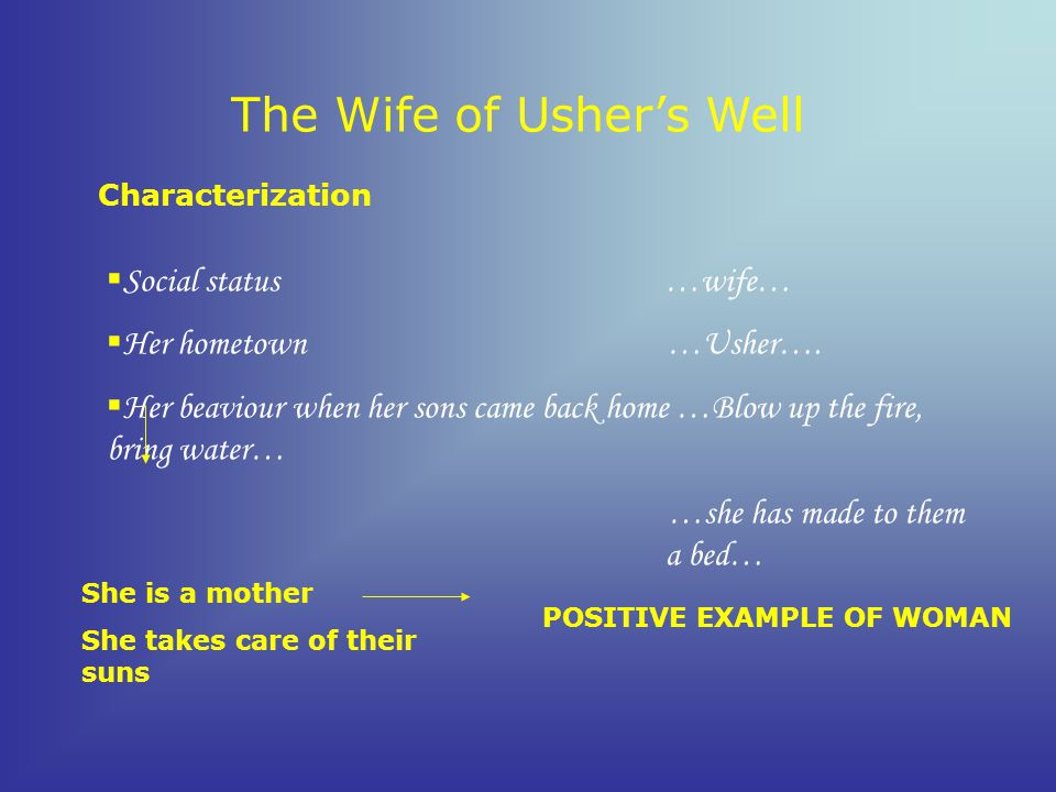The Wife of Ushers Well Characterization S ocial status …wife… H er hometown …Usher….