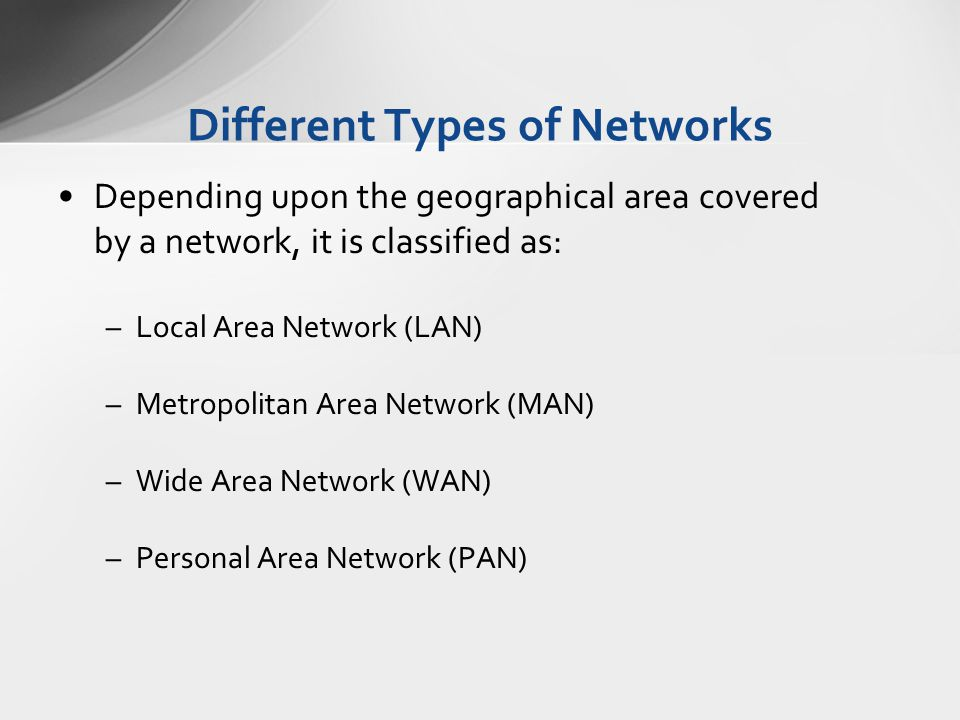Different Types of Networks Depending upon the geographical area covered by a network, it is classified as: –Local Area Network (LAN) –Metropolitan Ar