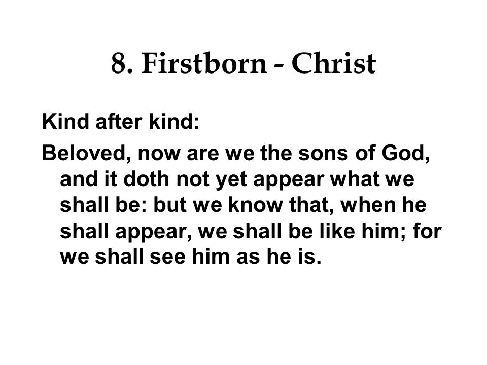 8. Firstborn - Christ Gather my saints together unto me; those that have made a covenant with me by sacrifice.