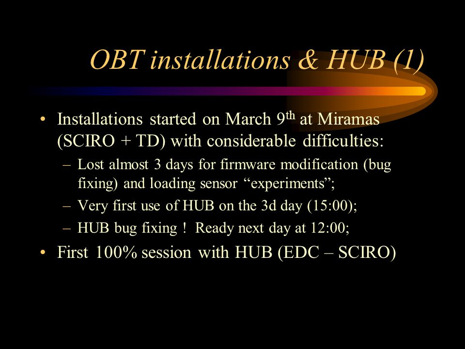 OBT installations & HUB (1) Installations started on March 9 th at Miramas (SCIRO + TD) with considerable difficulties: –Lost almost 3 days for firmwa