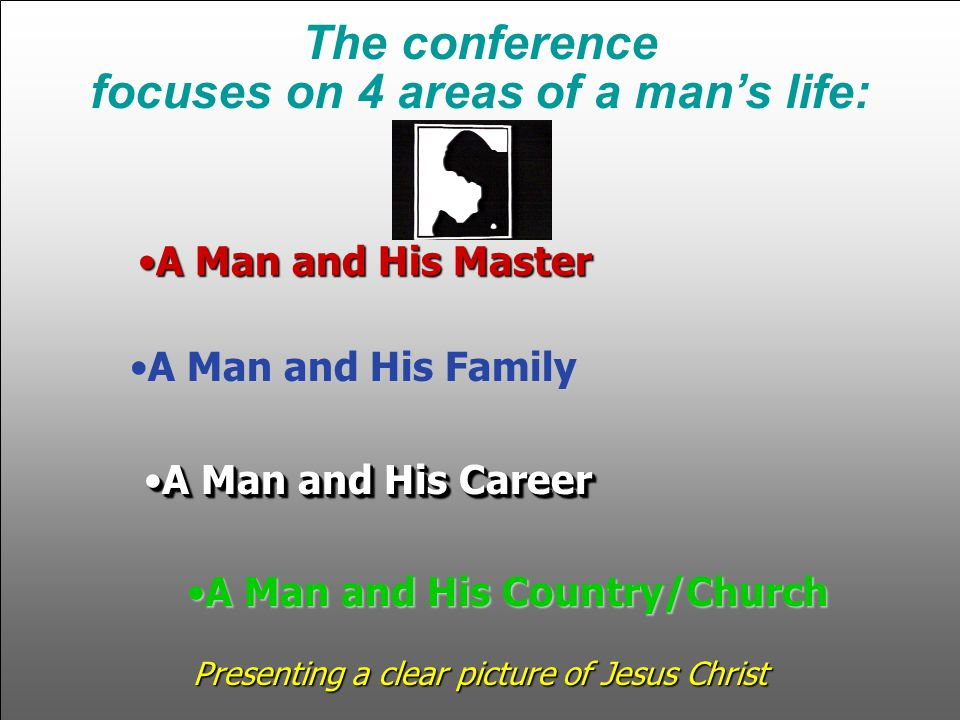 A Man and His MasterA Man and His Master A Man and His FamilyA Man and His Family A Man and His CareerA Man and His Career A Man and His Country/ChurchA Man and His Country/Church The conference focuses on 4 areas of a mans life: Presenting a clear picture of Jesus Christ