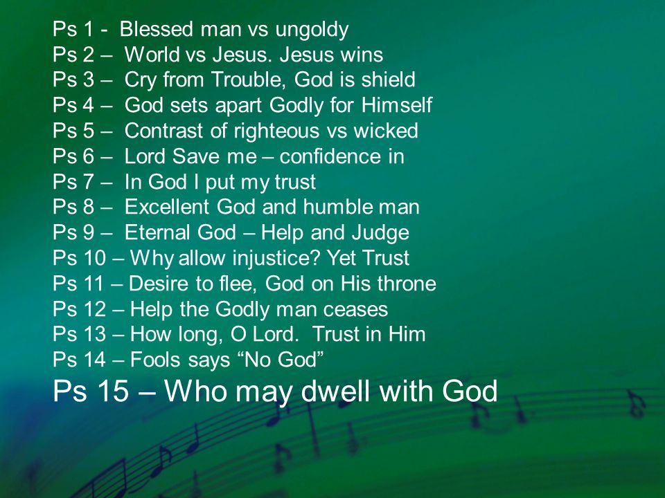 Ps 1 - Blessed man vs ungoldy Ps 2 – World vs Jesus. Jesus wins Ps 3 – Cry from Trouble, God is shield Ps 4 – God sets apart Godly for Himself Ps 5 –