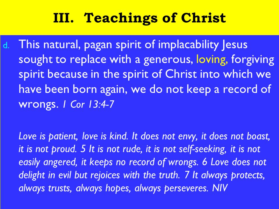 23 III. Teachings of Christ d.