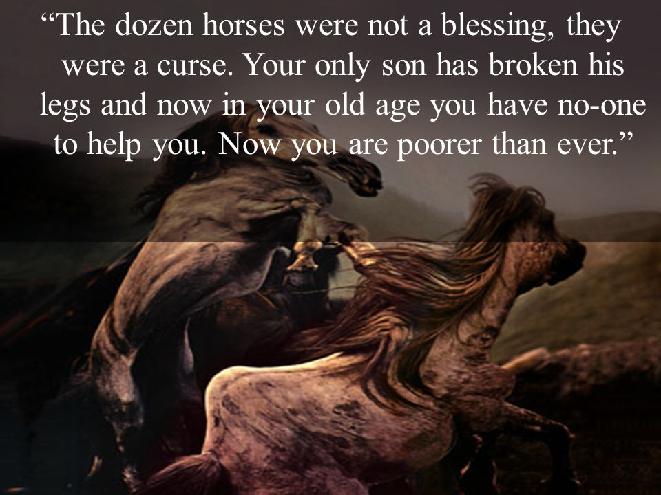 The dozen horses were not a blessing, they were a curse. Your only son has broken his legs and now in your old age you have no-one to help you. Now yo