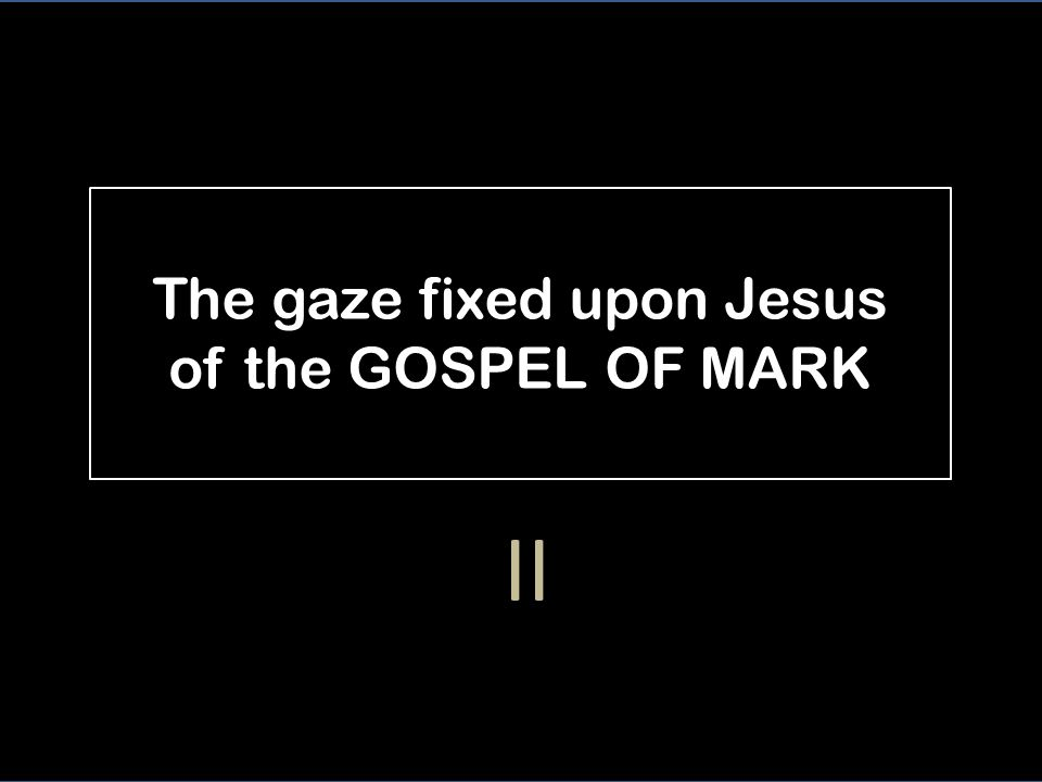The gaze fixed upon Jesus of the GOSPEL OF MARK II