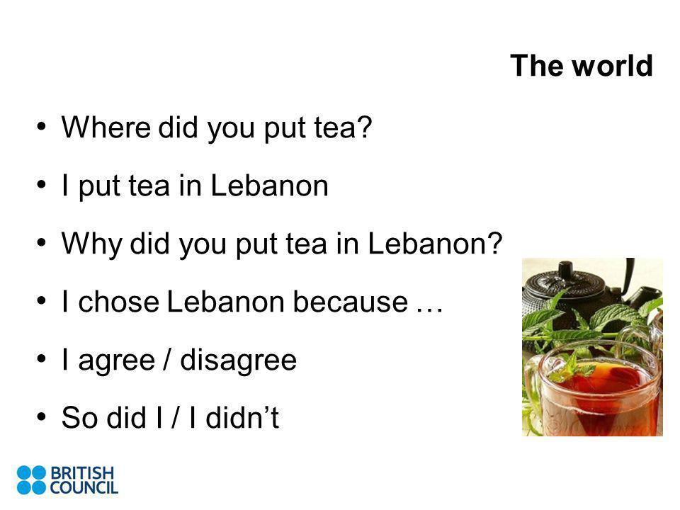 The world Where did you put tea? I put tea in Lebanon Why did you put tea in Lebanon? I chose Lebanon because … I agree / disagree So did I / I didnt