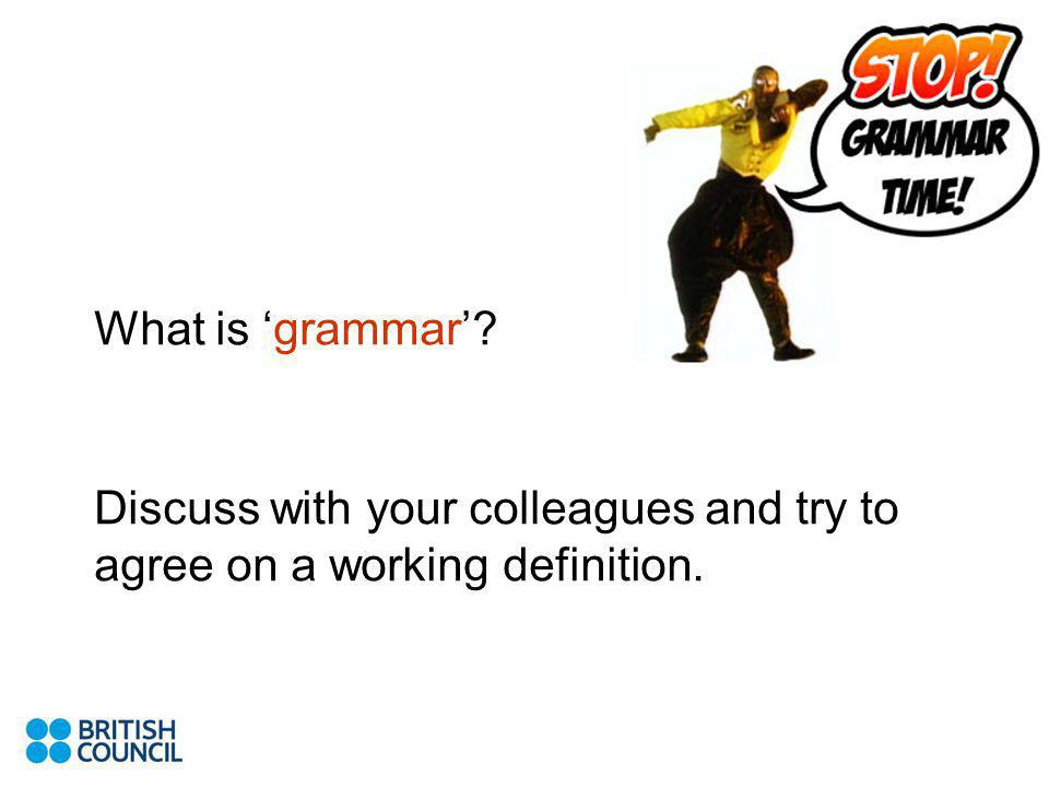What is grammar Discuss with your colleagues and try to agree on a working definition.