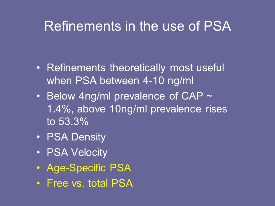 Refinements in the use of PSA Refinements theoretically most useful when PSA between 4-10 ng/ml Below 4ng/ml prevalence of CAP ~ 1.4%, above 10ng/ml p