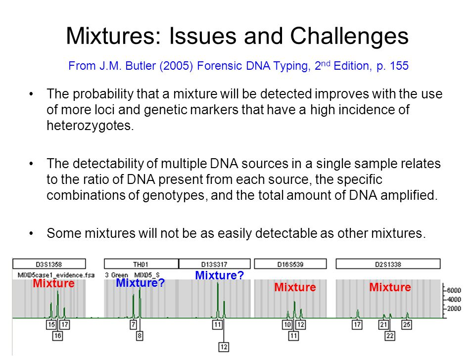 Two Parts to Mixture Interpretation Deduction of alleles present in the evidence (compared to victim and suspect profiles) Providing some kind of statistical answer regarding the weight of the evidence –An ISFG DNA Commission (Peter Gill, Bruce Weir, Charles Brenner, etc.) is evaluating the statistical approaches to mixture interpretation and will make recommendations soon