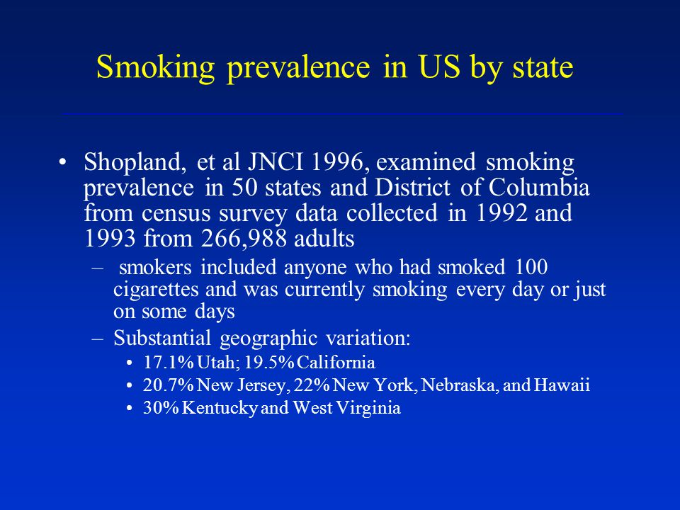 Smoking prevalence in US by state Shopland, et al JNCI 1996, examined smoking prevalence in 50 states and District of Columbia from census survey data