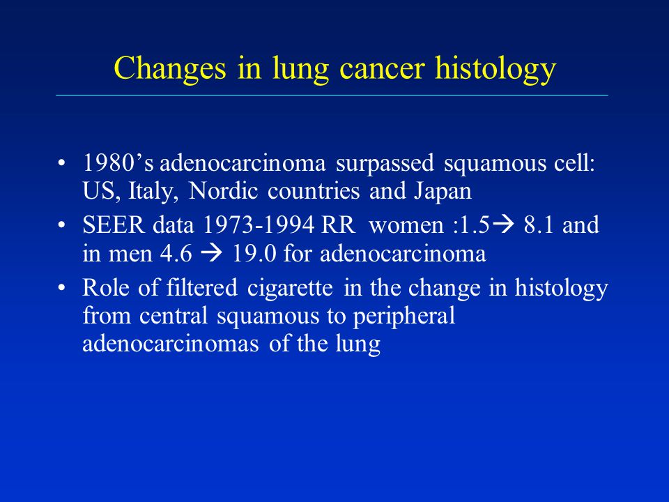 Changes in lung cancer histology 1980s adenocarcinoma surpassed squamous cell: US, Italy, Nordic countries and Japan SEER data 1973-1994 RR women :1.5