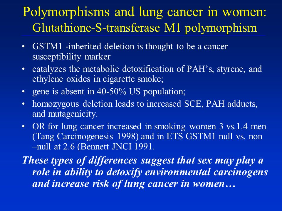 Polymorphisms and lung cancer in women: Glutathione-S-transferase M1 polymorphism GSTM1 -inherited deletion is thought to be a cancer susceptibility m
