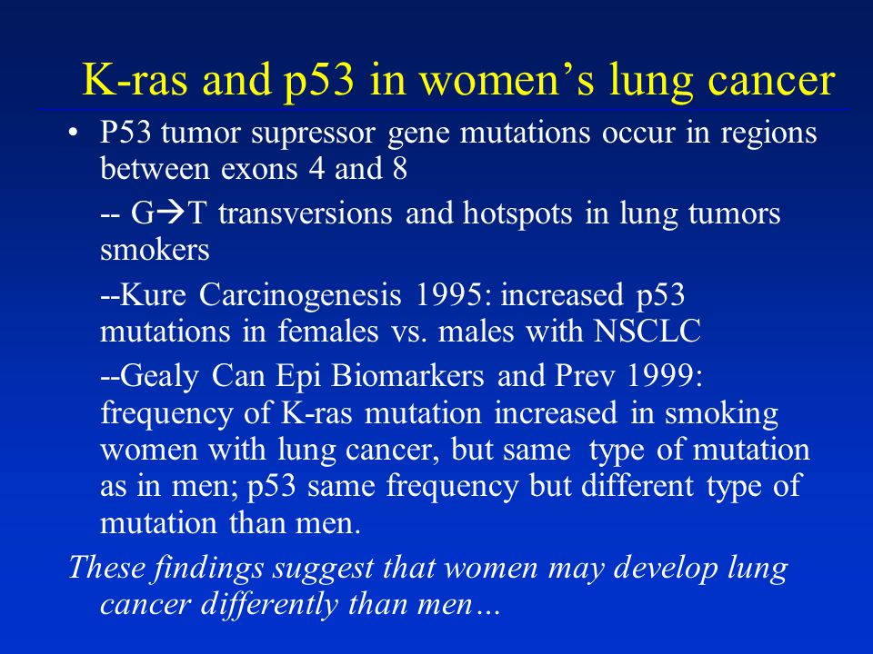 K-ras and p53 in womens lung cancer P53 tumor supressor gene mutations occur in regions between exons 4 and 8 -- G T transversions and hotspots in lun