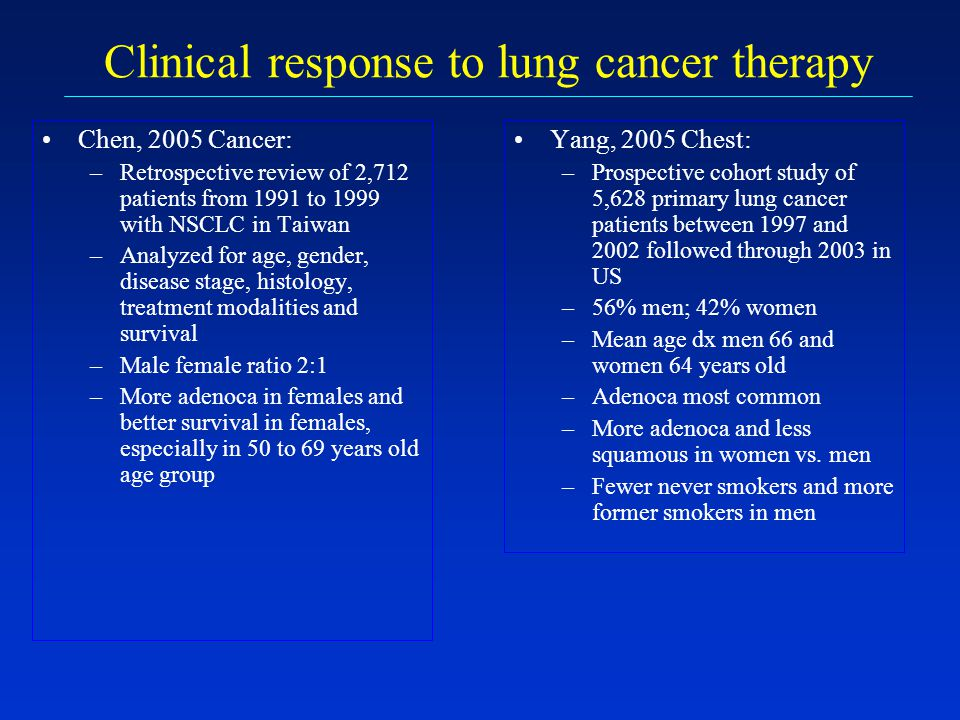Clinical response to lung cancer therapy Yang, 2005 Chest: –Prospective cohort study of 5,628 primary lung cancer patients between 1997 and 2002 follo