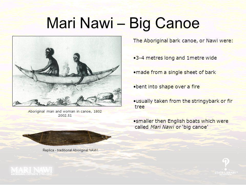 Mari Nawi – Big Canoe The Aboriginal bark canoe, or Nawi were: 3-4 metres long and 1metre wide made from a single sheet of bark bent into shape over a fire usually taken from the stringybark or fir tree smaller then English boats which were called Mari Nawi or big canoe Aboriginal man and woman in canoe, 1802 2002.51 Replica - traditional Aboriginal NAWI.